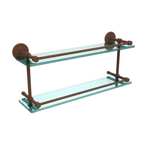 22 Inch Tempered Double Glass Shelf with Gallery Rail, Antique Bronze