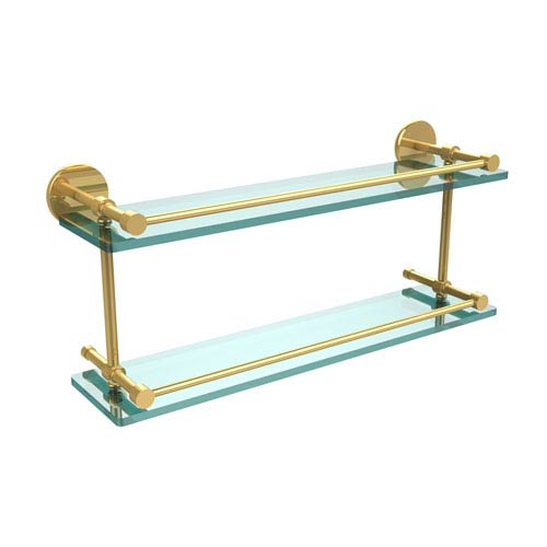Allied Brass 22 Inch Tempered Double Glass Shelf with Gallery Rail, Polished Brass