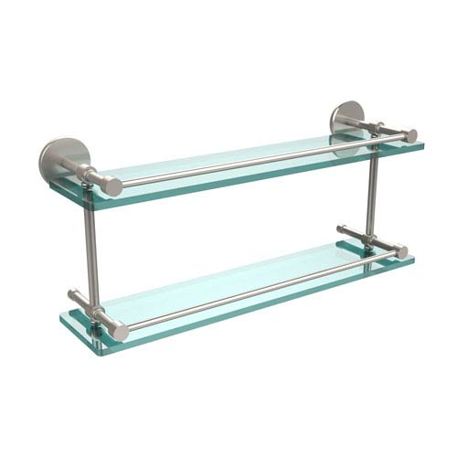 Allied Brass 22 Inch Tempered Double Glass Shelf with Gallery Rail, Satin Nickel