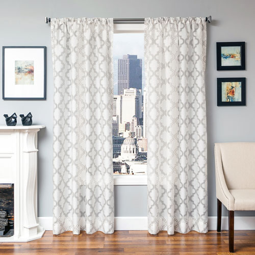 Perry Taupe 96 x 55 In. Geometric Burnout Semi Sheer  Panel