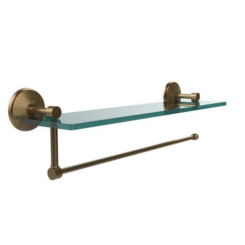 Prestige Monte Carlo Collection Paper Towel Holder with 16 Inch Glass Shelf, Brushed Bronze