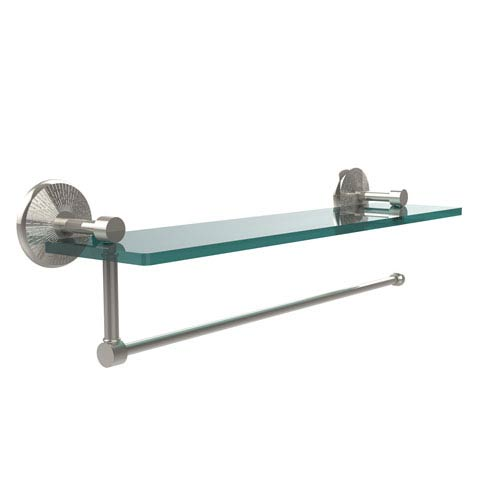 Prestige Monte Carlo Collection Paper Towel Holder with 16 Inch Glass Shelf, Polished Nickel