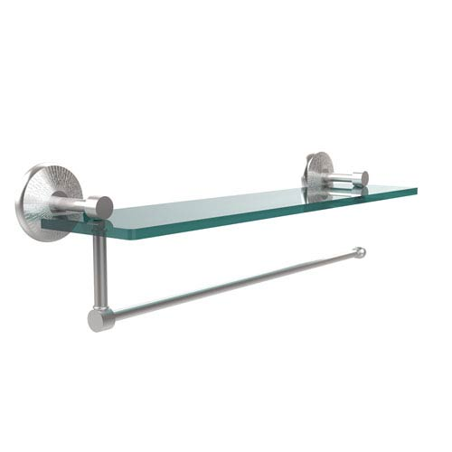 Prestige Monte Carlo Collection Paper Towel Holder with 22 Inch Glass Shelf, Satin Chrome
