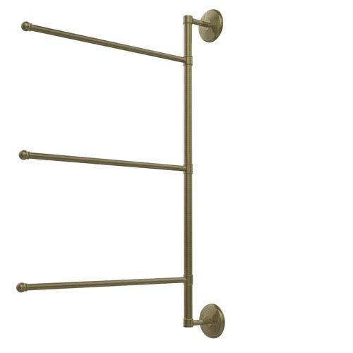 Prestige Monte Carlo Collection 3 Swing Arm Vertical 28 Inch Towel Bar, Antique Brass