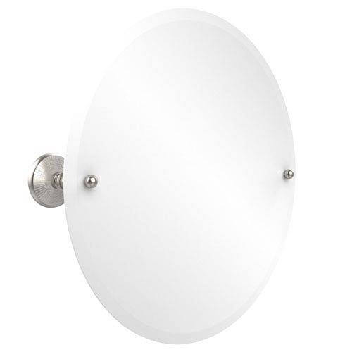 Frameless Round Tilt Mirror with Beveled Edge, Satin Nickel