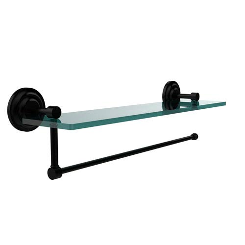 Prestige Que New Collection Paper Towel Holder with 16 Inch Glass Shelf, Matte Black