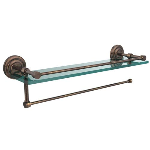 Prestige Que New Collection Paper Towel Holder with 16 Inch Gallery Glass Shelf, Venetian Bronze