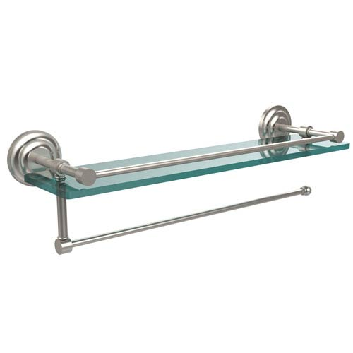 Prestige Que New Collection Paper Towel Holder with 22 Inch Gallery Glass Shelf, Satin Nickel