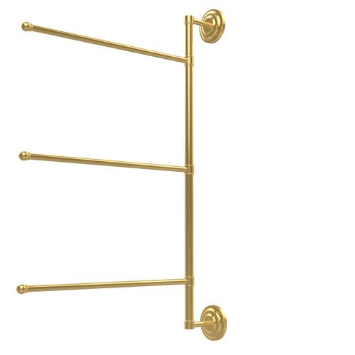 Prestige Que New Collection 3 Swing Arm Vertical 28 Inch Towel Bar, Unlacquered Brass