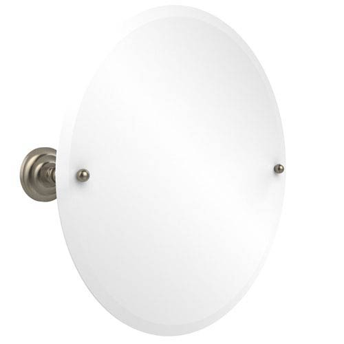 Frameless Round Tilt Mirror with Beveled Edge, Antique Pewter