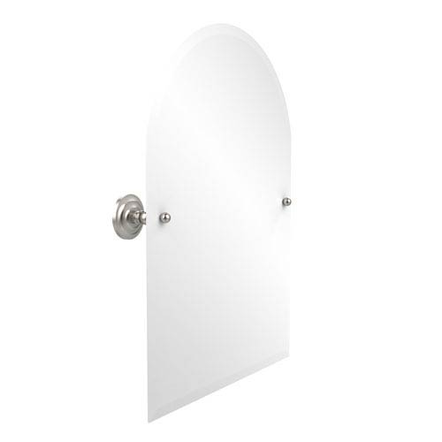 Frameless Arched Top Tilt Mirror with Beveled Edge, Satin Nickel