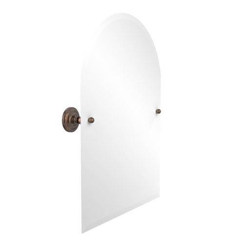 Frameless Arched Top Tilt Mirror with Beveled Edge, Venetian Bronze