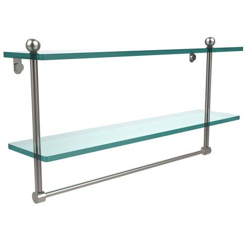 Allied Brass 22 Inch Two Tiered Glass Shelf with Integrated Towel Bar, Satin Nickel