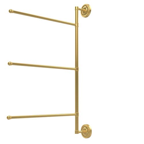 Prestige Regal Collection 3 Swing Arm Vertical 28 Inch Towel Bar, Unlacquered Brass