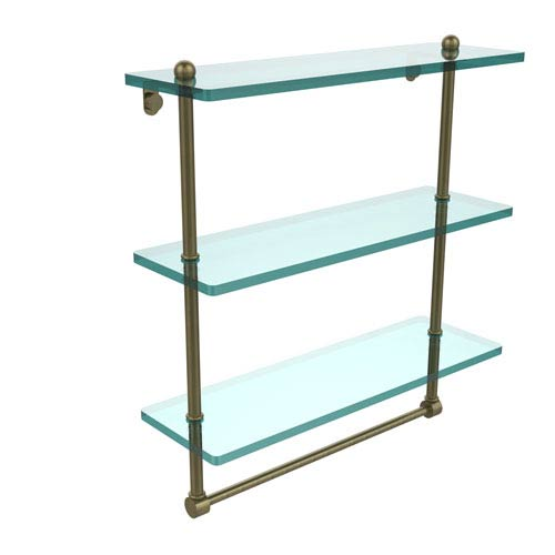 Allied Brass 16 Inch Triple Tiered Glass Shelf with Integrated Towel Bar, Antique Brass