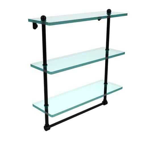 16 Inch Triple Tiered Glass Shelf with Integrated Towel Bar, Matte Black