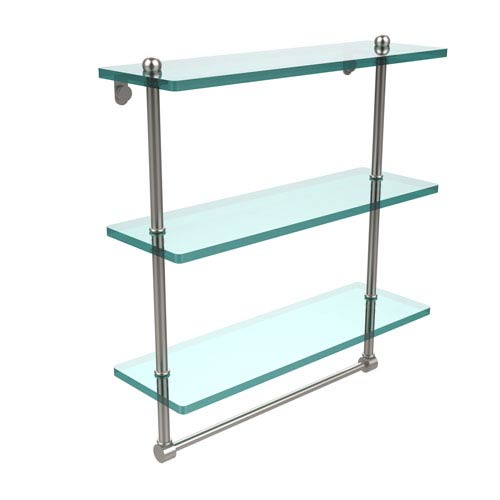 16 Inch Triple Tiered Glass Shelf with Integrated Towel Bar, Satin Nickel