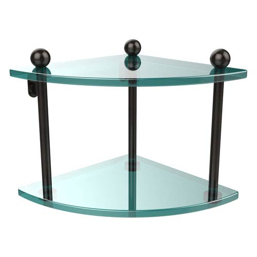 Oil Rubbed Bronze Double Corner Glass Shelf