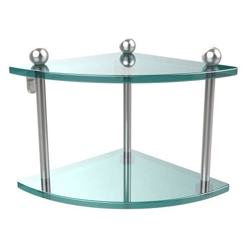 Satin Chrome Double Corner Glass Shelf