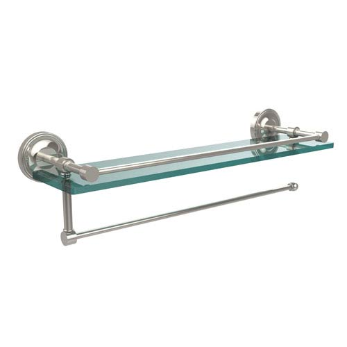 Allied Brass Prestige Regal Collection Paper Towel Holder with 16 Inch Gallery Glass Shelf, Polished Nickel