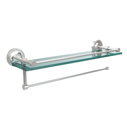 Prestige Regal Collection Paper Towel Holder with 16 Inch Gallery Glass Shelf, Satin Chrome