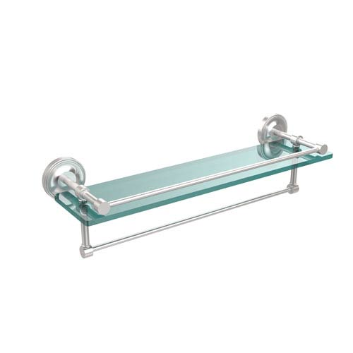 22 Inch Gallery Glass Shelf with Towel Bar, Satin Chrome