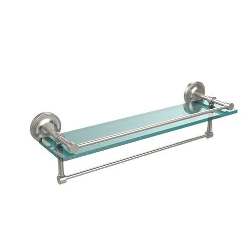 22 Inch Gallery Glass Shelf with Towel Bar, Satin Nickel