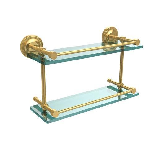 Prestige Regal 16 Inch Double Glass Shelf with Gallery Rail, Polished Brass