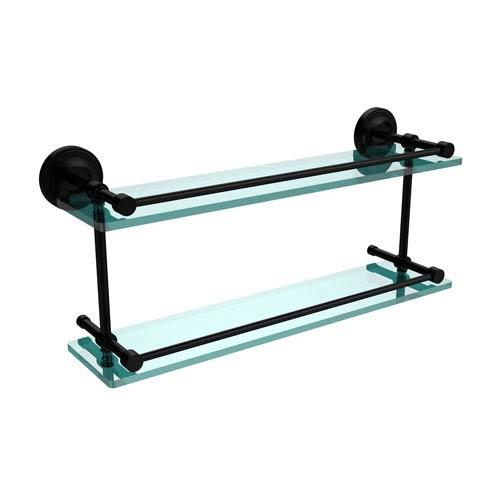 Allied Brass Prestige Regal 22 Inch Double Glass Shelf with Gallery Rail, Matte Black
