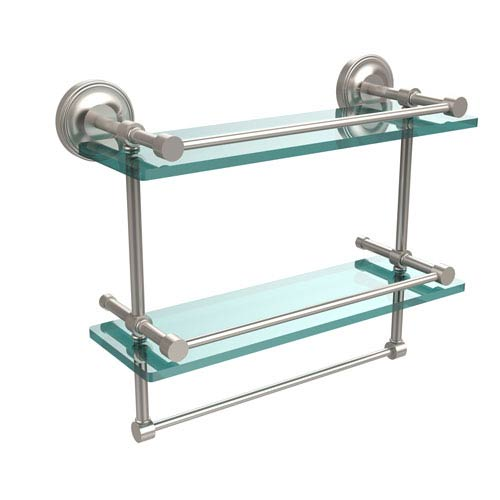 16 inch gallery double glass shelf with towel bar satin nickel - Bathroom Glass Shelves