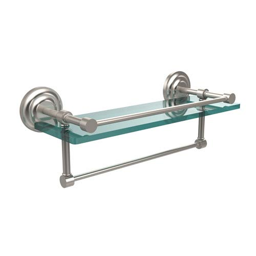 Allied Brass 16 Inch Gallery Glass Shelf with Towel Bar, Satin Nickel