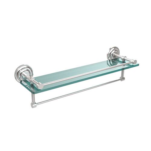 22 Inch Gallery Glass Shelf with Towel Bar, Polished Chrome