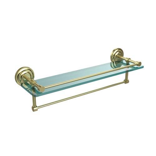 Allied Brass 22 Inch Gallery Glass Shelf with Towel Bar, Satin Brass