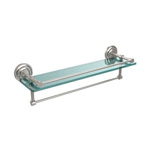 Allied Brass 22 Inch Gallery Glass Shelf with Towel Bar, Satin Nickel