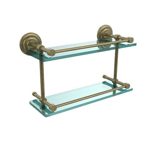 Que New 16-Inch Double Glass Shelf with Gallery Rail