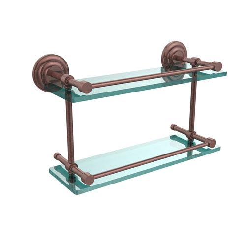 Que New 16 Inch Double Glass Shelf with Gallery Rail, Antique Copper