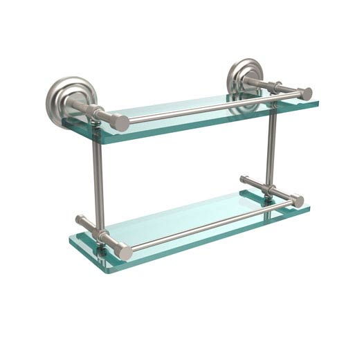 Que New 16 Inch Double Glass Shelf with Gallery Rail, Satin Nickel