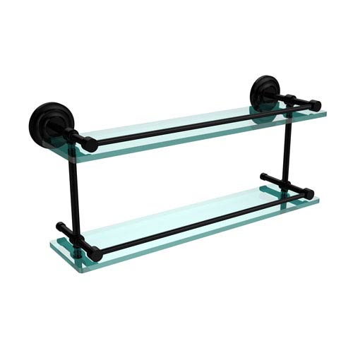 Allied Brass Que New 22 Inch Double Glass Shelf with Gallery Rail, Matte Black