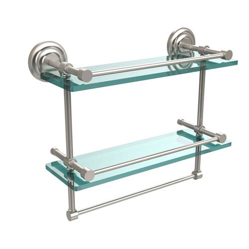 Allied Brass 16 Inch Gallery Double Glass Shelf with Towel Bar, Satin Nickel