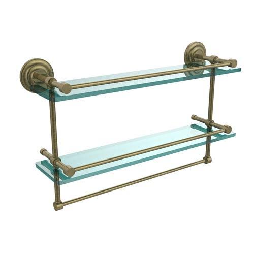 Allied Brass 22 Inch Gallery Double Glass Shelf with Towel Bar, Antique Brass