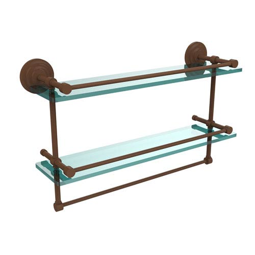 Allied Brass 22 Inch Gallery Double Glass Shelf with Towel Bar, Antique Bronze