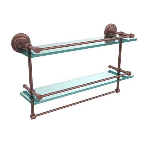 Allied Brass 22 Inch Gallery Double Glass Shelf with Towel Bar, Antique Copper