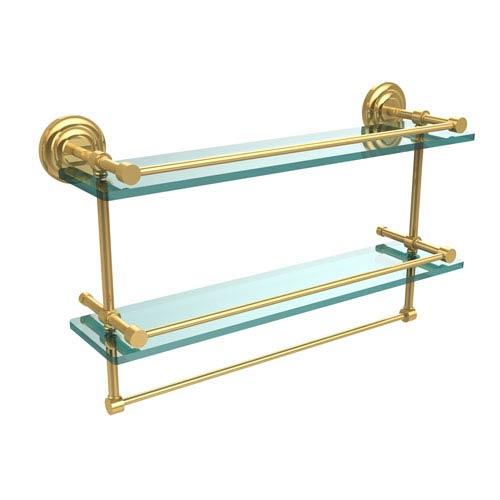 Allied Brass 22 Inch Gallery Double Glass Shelf with Towel Bar, Polished Brass