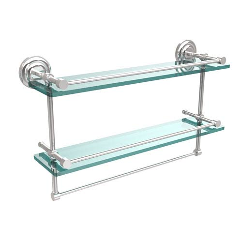 Allied Brass 22 Inch Gallery Double Glass Shelf with Towel Bar, Polished Chrome