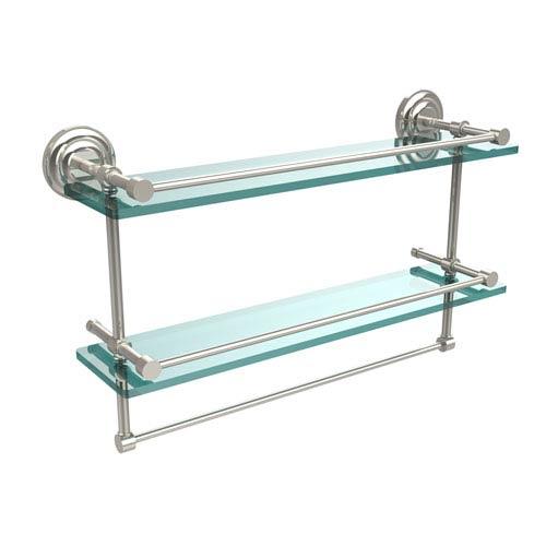 Allied Brass 22 Inch Gallery Double Glass Shelf with Towel Bar, Polished Nickel