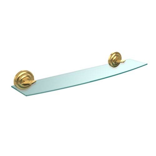 Que New Collection 24 Inch Glass Shelf, Polished Brass