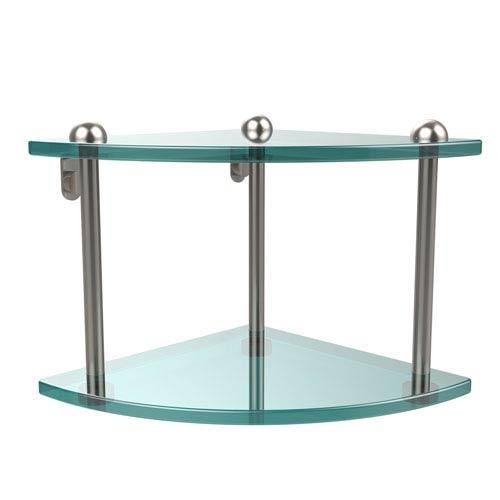 Two Tier Corner Glass Shelf, Satin Nickel