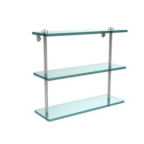 16 Inch Triple Tiered Glass Shelf, Polished Chrome