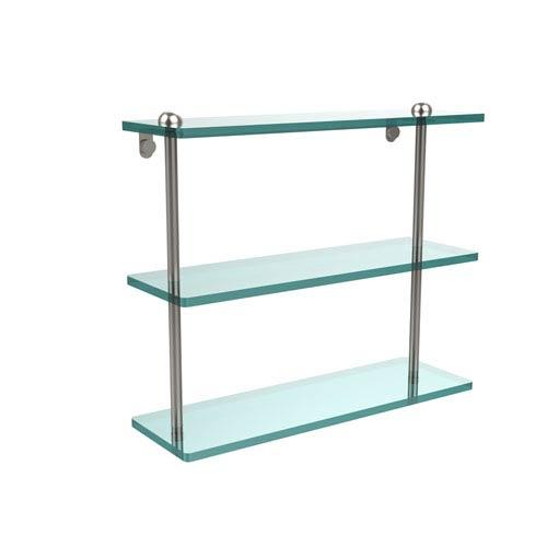16 Inch Triple Tiered Glass Shelf, Satin Nickel