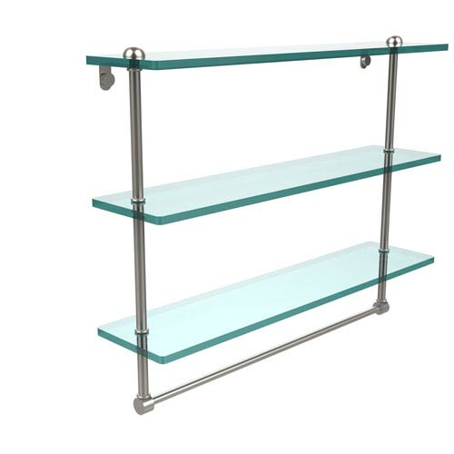 Allied Brass 22 Inch Triple Tiered Glass Shelf with Integrated Towel Bar, Satin Nickel